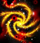 Black holes and yellow spiral galaxy by SOFIAMETALQUEEN