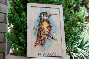 Wood Watercolor Wall Art 'Hummingbird 2' Laser by CoraxArt