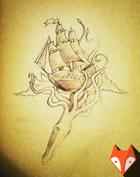 Octopus and sailboat, freehand drawing by kvartalist