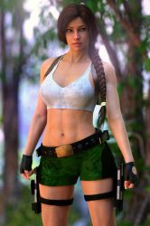 Gina as Lara Croft in South Pacific Island by FranPHolland