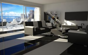 Living room BW by slographic