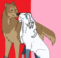 Toboe and Snow wolf by marbowsta