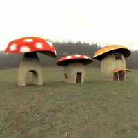 Cartoon World Toadstool Houses by VanishingPointInc