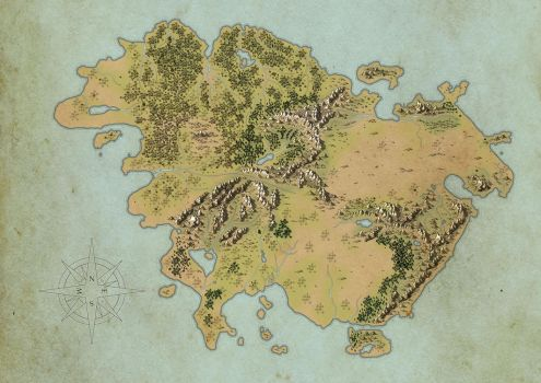 Worldbuilding Continent Map WIP by lancedART