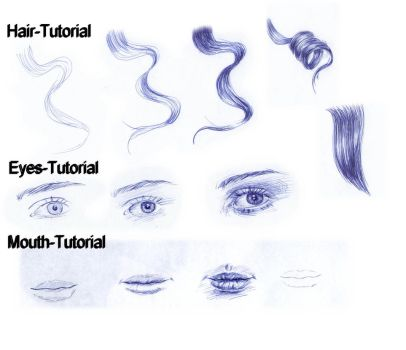 Tutorial Ballpoint Pen: Eyes, Mouth, Curly hair by AngelinaBenedetti