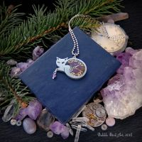 Violet kitty - handmade steampunk pendant by IkushIkush
