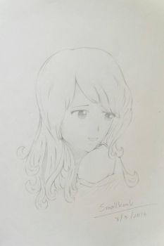 drawing girl face behind her shoulder by smallkank