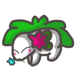 Shaymin with flowers by Mouseychu