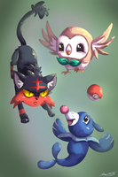 Pokemon Sun and Moon Starters by shaina773
