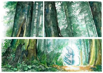 first watercolor landscape - details by proxi-mity