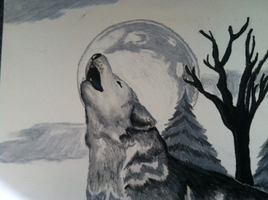 Howling Wolf In Pastel by Tinalbion