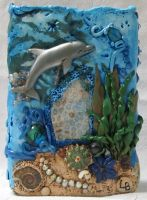 Polymer Clay Dolphin Ocean Theme Vase by wildhorse63