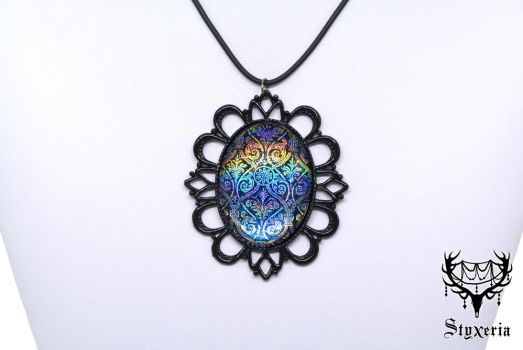 Floral holographic Pattern black Cameo Pendant by Styxeria