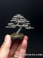 Silver upright wire bonsai tree by Ken To by KenToArt
