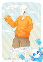 underswap Papyrus and Sans by lf2753