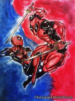 Spider-Girl vs Deadpool by XxLevanaxX
