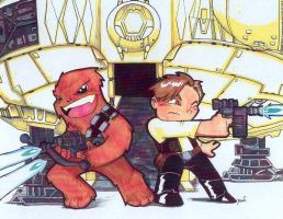 Chibi-Han and Chewie. by hedbonstudios