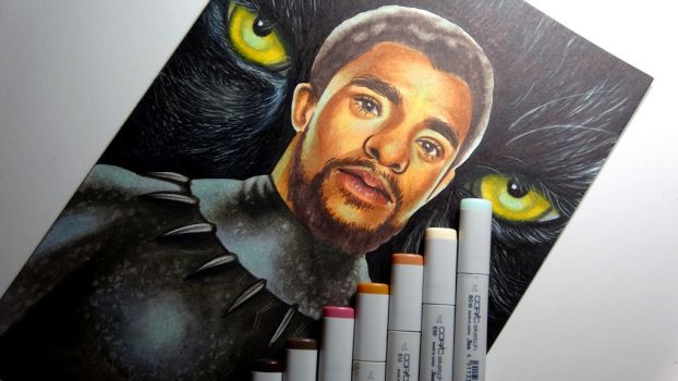BLACK PANTHER (Chadwick Boseman) - Copic Sketch by VitamineDD