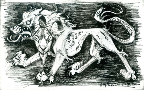 Chimera Lithograph by AmandaMyers