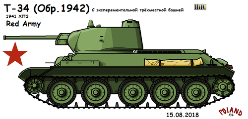 T-34 Ver. 1942 (with turret for 3 ) (183.42) by P0landWW2