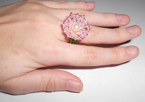 Pink Flower Ring by Mousethful