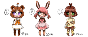 Cute Adoptable Batch 3 (CLOSED) by CreepyCatPasta
