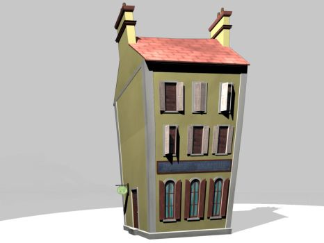 3D Cartoony WW2 Building by tanka2d