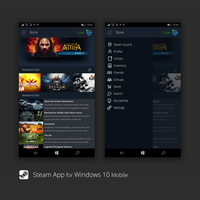 Steam on Windows 10 Mobile - Concept by bannax1994