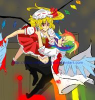 Flandre vs Rainbow dash commission by I-am-Miss-Duckie