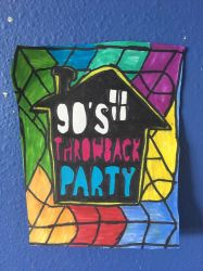 90s Throwback Party Art Colorful Design Drawing  by NWeezyBlueStars23