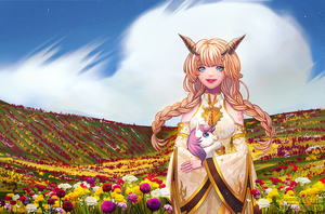 [Commission] A peace in a flower field by UsagiAya