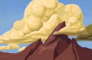 Clouds, painting exercise by doppioslash
