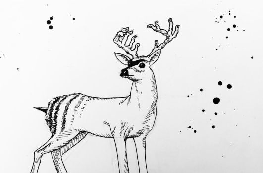 Deer with finger antlers and a bee butt by augustmany