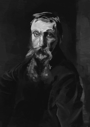 Portrait of Rodin after Sargent by Maekyo