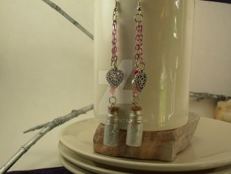 Dangle Earrings Silver White Glitter Vials by purp1