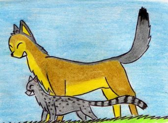 A wolf and a genet by Kooskia