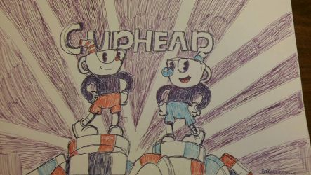 Ballpoint pen drawing: Cuphead by SERIOUSDOOMGUY