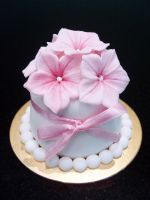 Pink Blossoms Mini Cake by Sliceofcake