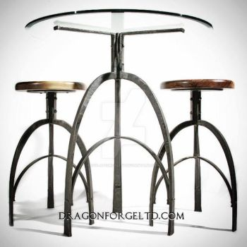 Deco study Table and stools by isolatedreality