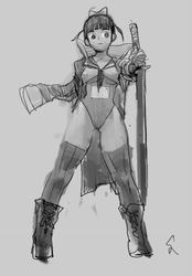 One armed sword girl by dimelife