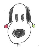 Snoopy with christmas ornaments on his ears by dth1971