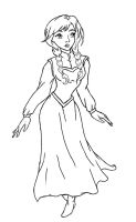 Frozen: Anna Lineart by kimberly-castello