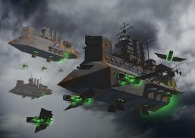 SciFi Steampunk Battleships by solterbeck65