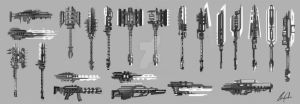 High Tech Weapon Sketches by charfade
