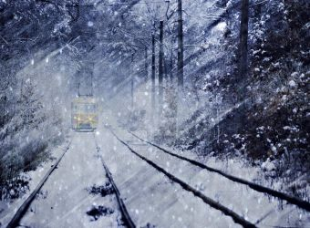 the tram in the winter forest by aloner777