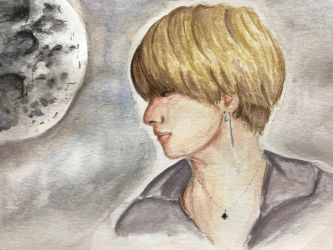 BTS V taehyung moon night by o-0-0-o