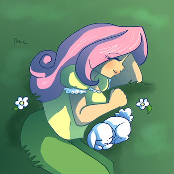 Fluttershy and Angel by Butterscotch25