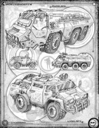 Vehicles: Page 29 of a conceptual sketchbook by Stormcrow135