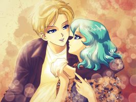 Sailor Moon's Haruka and  Michiru by Smurfbreeder