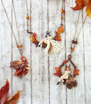 Fall Moth Fairy Necklace Collection by LittleBreeze